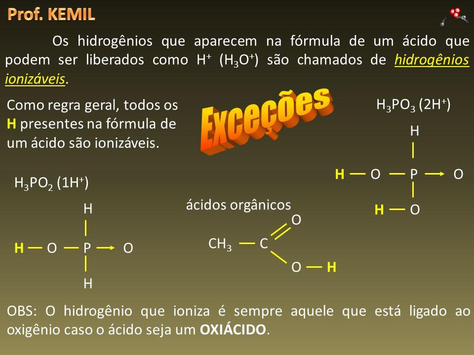 Os hidrogênios que aparecem na fórmula de um ácido que podem ser liberados como H + (H 3 O + ) são chamados de hidrogênios ionizáveis. Como regra gera
