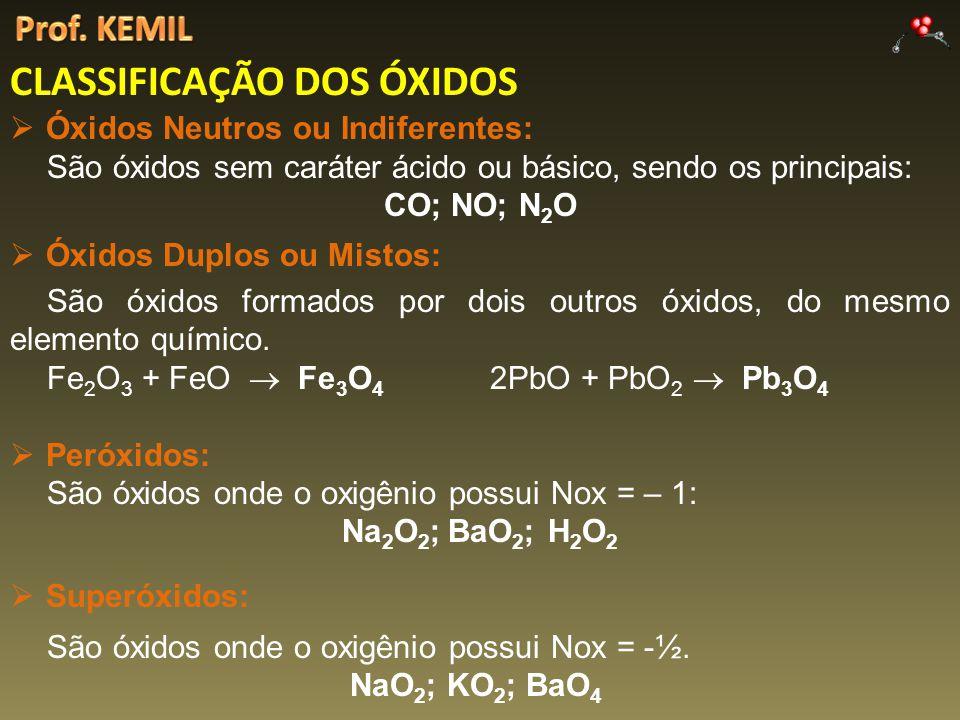 CLASSIFICAÇÃO DOS ÓXIDOS Óxidos Neutros ou Indiferentes: São óxidos sem caráter ácido ou básico, sendo os principais: CO; NO; N 2 O Óxidos Duplos ou Mistos: São óxidos formados por dois outros óxidos, do mesmo elemento químico.