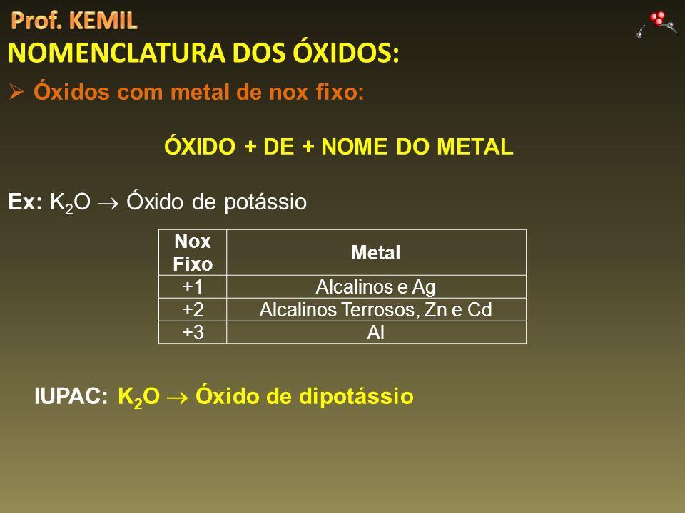 NOMENCLATURA DOS ÓXIDOS: Óxidos com metal de nox fixo: ÓXIDO + DE + NOME DO METAL Ex: K 2 O Óxido de potássio Nox Fixo Metal +1Alcalinos e Ag +2Alcalinos Terrosos, Zn e Cd +3Al IUPAC: K 2 O Óxido de dipotássio
