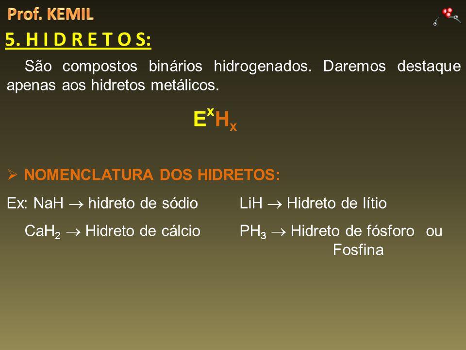 5. H I D R E T O S: São compostos binários hidrogenados. Daremos destaque apenas aos hidretos metálicos. E x H x NOMENCLATURA DOS HIDRETOS: Ex: NaH hi