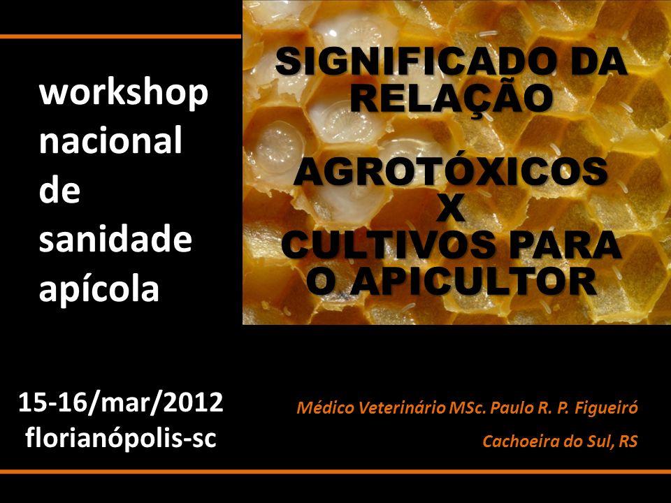 workshop nacional de sanidade apícola 15-16/mar/2012florianópolis-sc SIGNIFICADO DA RELAÇÃO AGROTÓXICOSX CULTIVOS PARA O APICULTOR Médico Veterinário