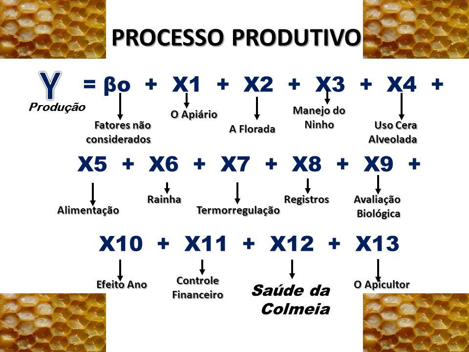 PROCESSO PRODUTIVO = βo + X1 + X2 + X3 + X4 + X5 + X6 + X7 + X8 + X9 + X10 + X11 + X12 + X13 Produção Fatores não considerados O Apiário A Florada Man