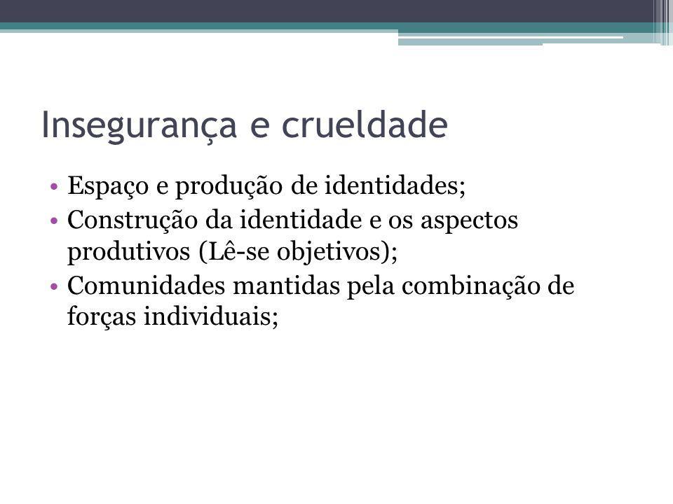 Insegurança e crueldade Espaço e produção de identidades; Construção da identidade e os aspectos produtivos (Lê-se objetivos); Comunidades mantidas pe
