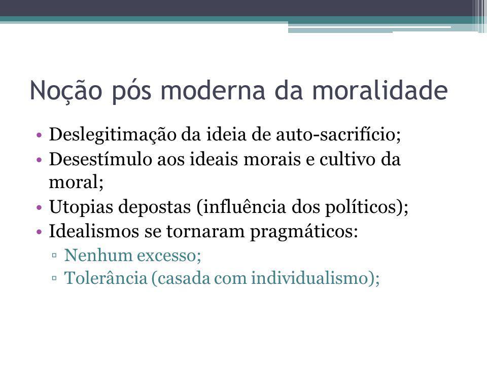 Noção pós moderna da moralidade Deslegitimação da ideia de auto-sacrifício; Desestímulo aos ideais morais e cultivo da moral; Utopias depostas (influê