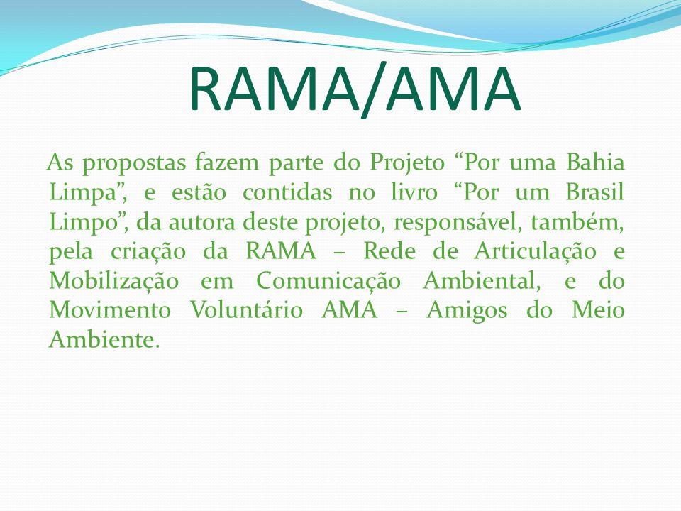RAMA/AMA As propostas fazem parte do Projeto Por uma Bahia Limpa, e estão contidas no livro Por um Brasil Limpo, da autora deste projeto, responsável, também, pela criação da RAMA – Rede de Articulação e Mobilização em Comunicação Ambiental, e do Movimento Voluntário AMA – Amigos do Meio Ambiente.