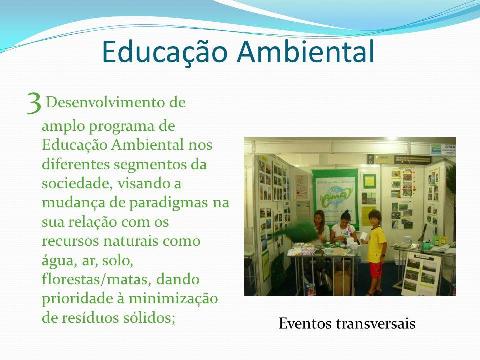 Educação Ambiental 3 Desenvolvimento de amplo programa de Educação Ambiental nos diferentes segmentos da sociedade, visando a mudança de paradigmas na sua relação com os recursos naturais como água, ar, solo, florestas/matas, dando prioridade à minimização de resíduos sólidos; Eventos transversais
