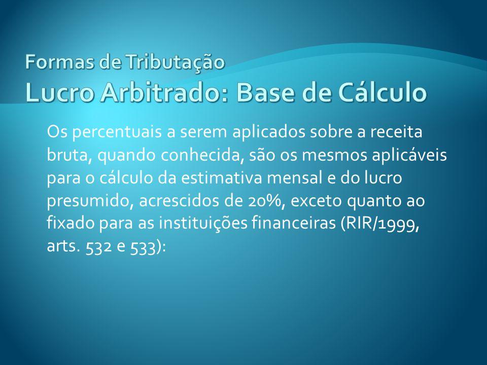 Os percentuais a serem aplicados sobre a receita bruta, quando conhecida, são os mesmos aplicáveis para o cálculo da estimativa mensal e do lucro pres
