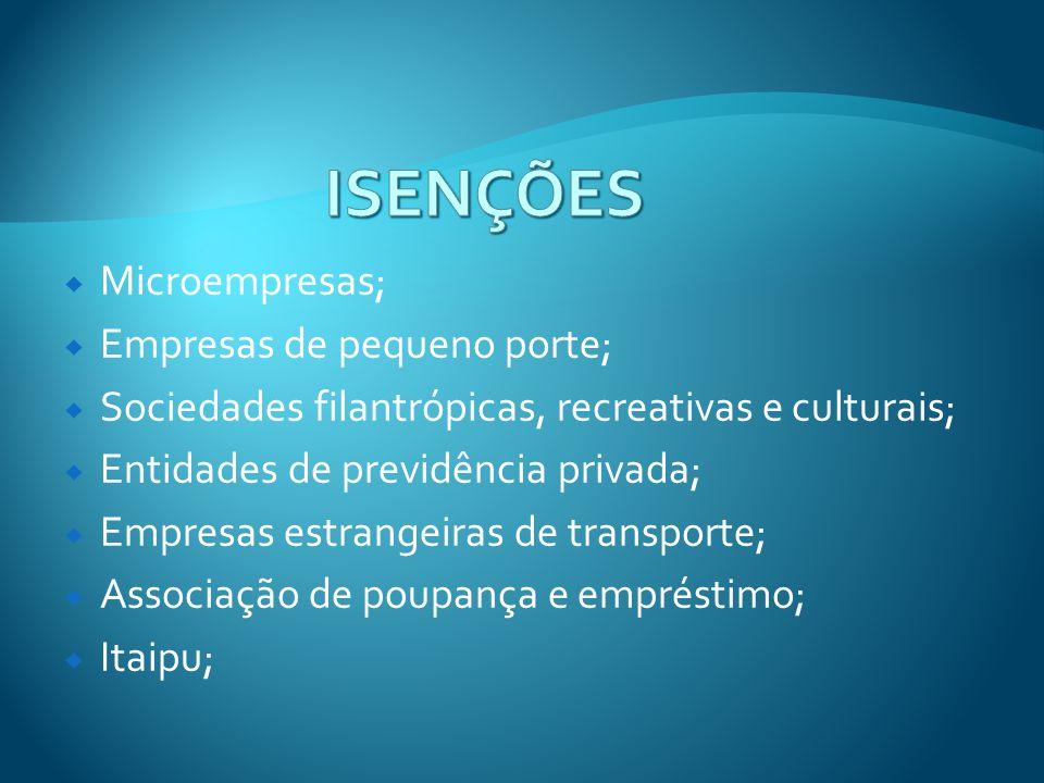 Microempresas; Empresas de pequeno porte; Sociedades filantrópicas, recreativas e culturais; Entidades de previdência privada; Empresas estrangeiras d
