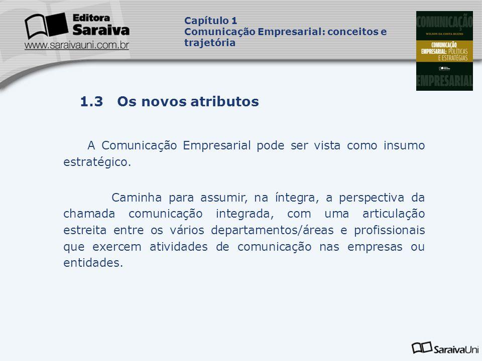 Capa da Obra Capítulo 1 Comunicação Empresarial: conceitos e trajetória 1.3 Os novos atributos A Comunicação Empresarial pode ser vista como insumo estratégico.