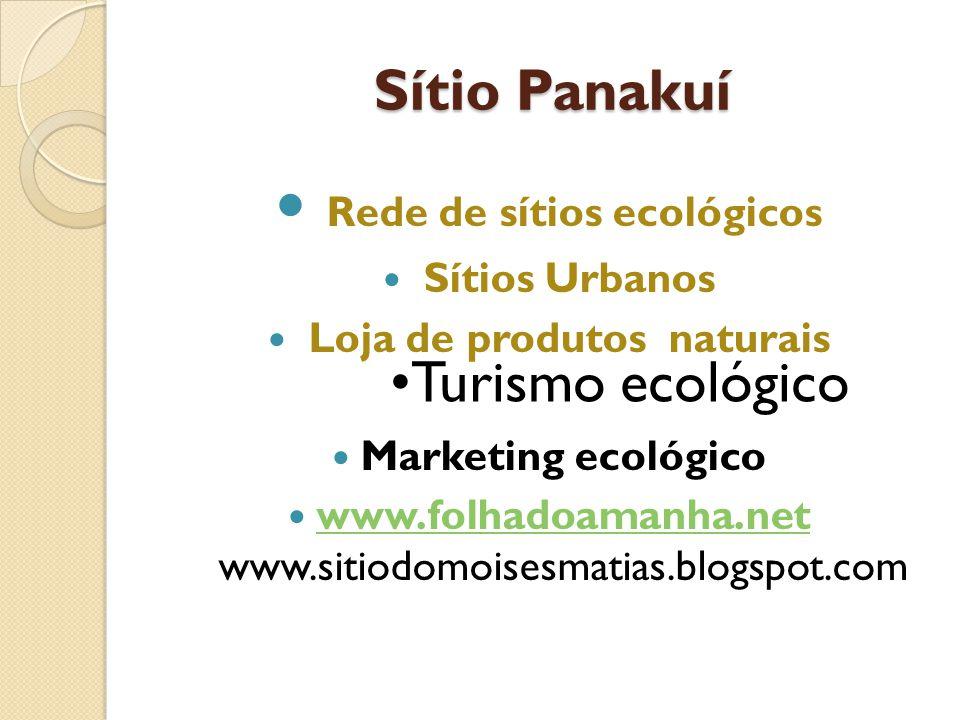 Sítio Panakuí Sítio Panakuí Rede de sítios ecológicos Sítios Urbanos Loja de produtos naturais Marketing ecológico www.folhadoamanha.net www.sitiodomo