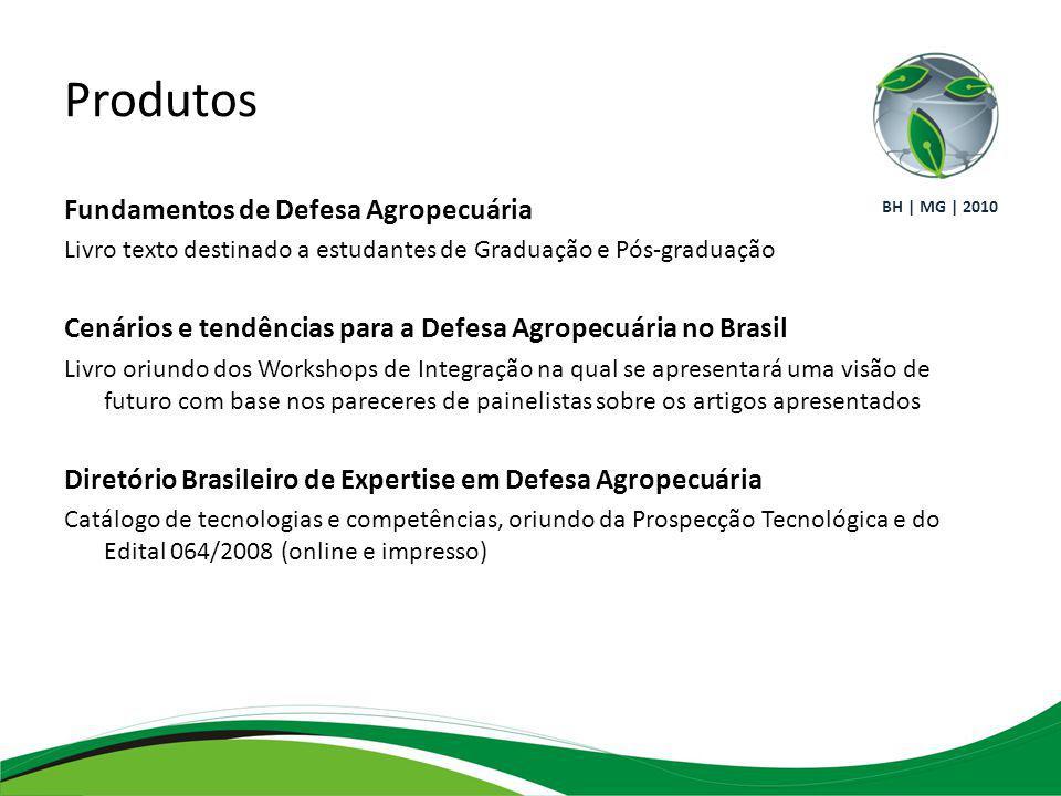 Produtos Fundamentos de Defesa Agropecuária Livro texto destinado a estudantes de Graduação e Pós-graduação Cenários e tendências para a Defesa Agropecuária no Brasil Livro oriundo dos Workshops de Integração na qual se apresentará uma visão de futuro com base nos pareceres de painelistas sobre os artigos apresentados Diretório Brasileiro de Expertise em Defesa Agropecuária Catálogo de tecnologias e competências, oriundo da Prospecção Tecnológica e do Edital 064/2008 (online e impresso) BH | MG | 2010