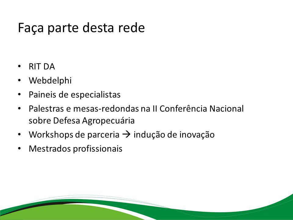 Faça parte desta rede RIT DA Webdelphi Paineis de especialistas Palestras e mesas-redondas na II Conferência Nacional sobre Defesa Agropecuária Workshops de parceria indução de inovação Mestrados profissionais
