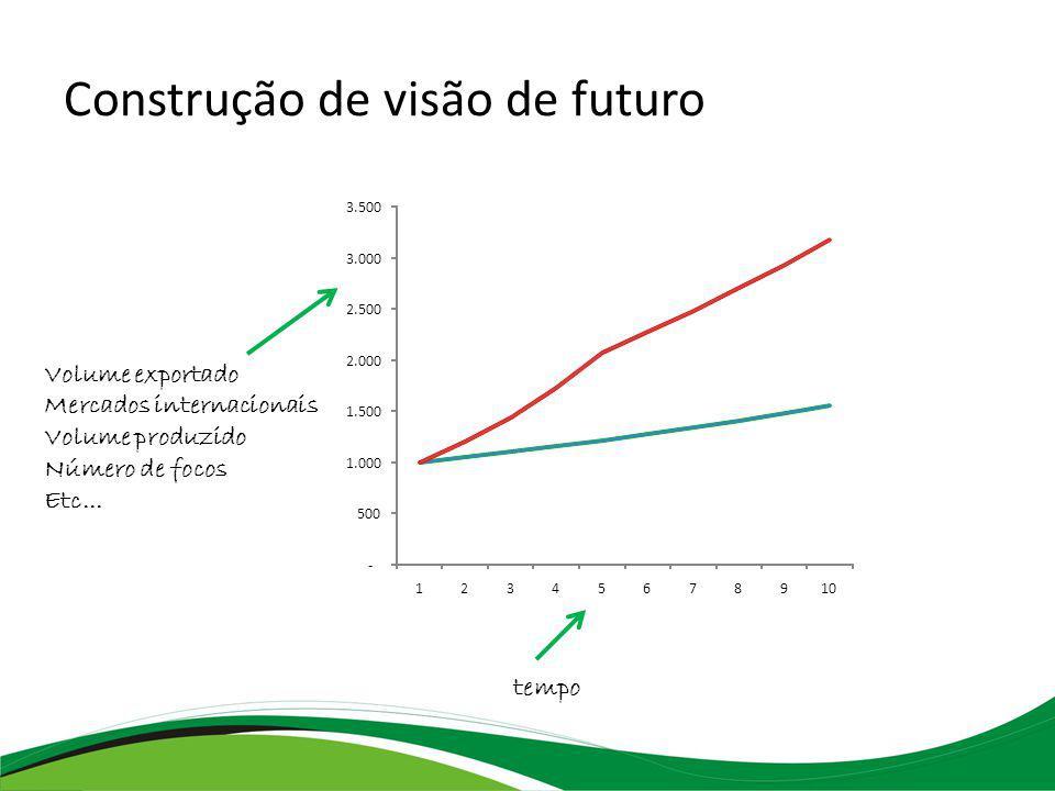 Construção de visão de futuro - 500 1.000 1.500 2.000 2.500 3.000 3.500 12345678910 tempo Volume exportado Mercados internacionais Volume produzido Número de focos Etc...