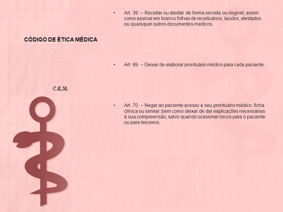 CÓDIGO DE ÉTICA MÉDICA Art. 39. – Receitar ou atestar de forma secreta ou ilegível, assim como assinar em branco folhas de receituários, laudos, atest