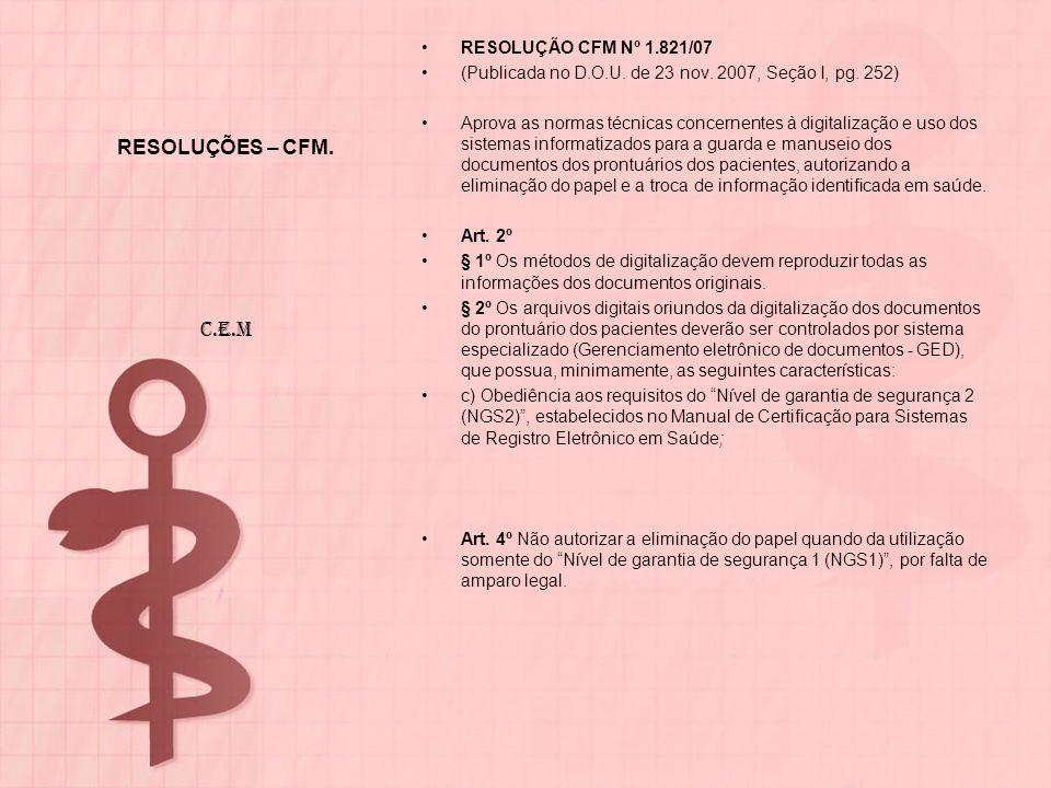 RESOLUÇÕES – CFM. RESOLUÇÃO CFM Nº 1.821/07 (Publicada no D.O.U. de 23 nov. 2007, Seção I, pg. 252) Aprova as normas técnicas concernentes à digitaliz