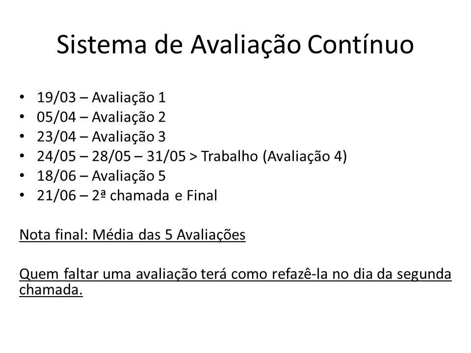 Sistema de Avaliação Contínuo 19/03 – Avaliação 1 05/04 – Avaliação 2 23/04 – Avaliação 3 24/05 – 28/05 – 31/05 > Trabalho (Avaliação 4) 18/06 – Avali