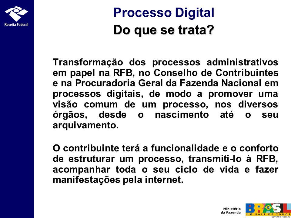 Transformação dos processos administrativos em papel na RFB, no Conselho de Contribuintes e na Procuradoria Geral da Fazenda Nacional em processos dig