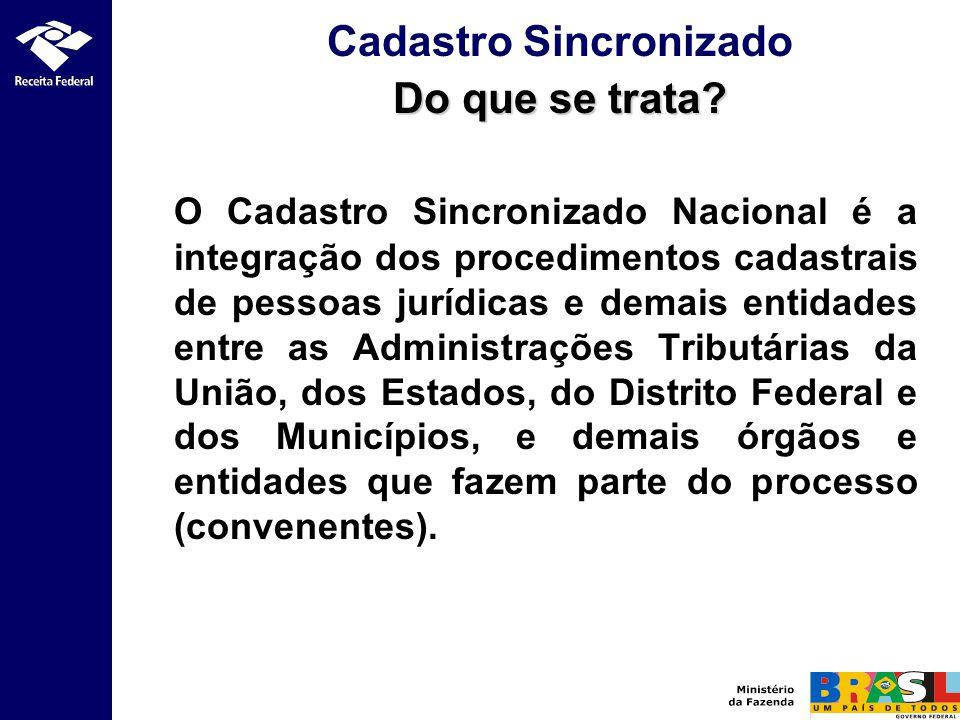 O Cadastro Sincronizado Nacional é a integração dos procedimentos cadastrais de pessoas jurídicas e demais entidades entre as Administrações Tributári