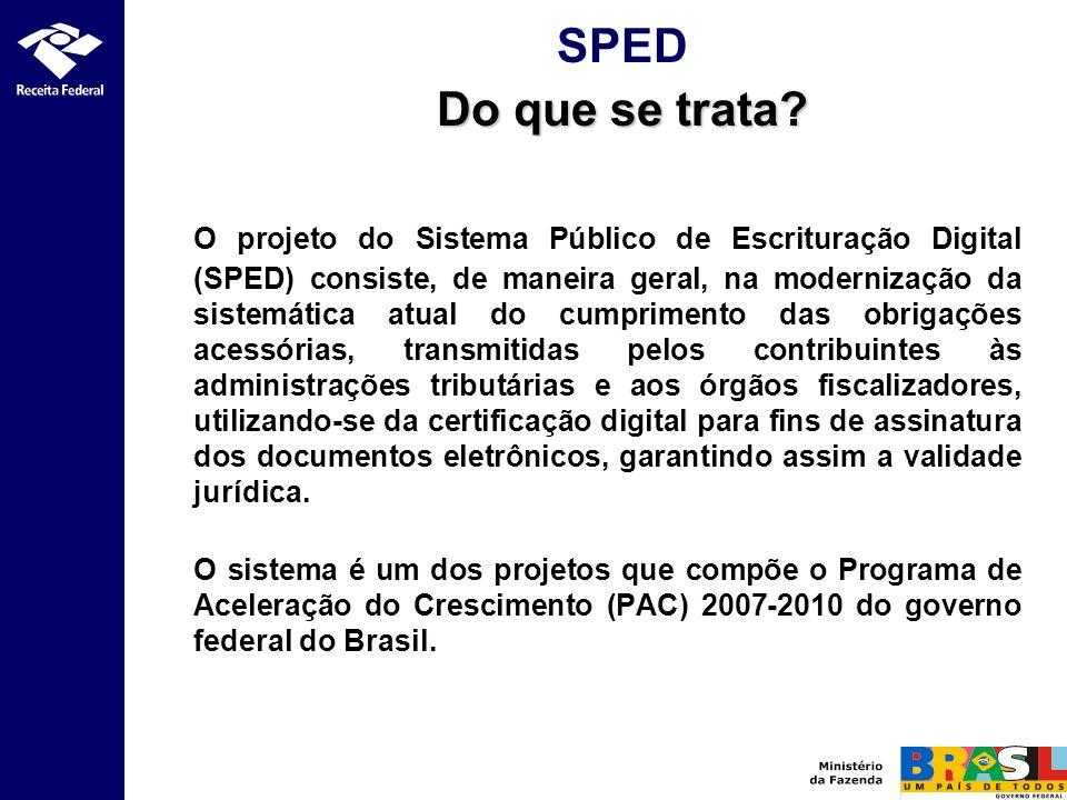 O projeto do Sistema Público de Escrituração Digital (SPED) consiste, de maneira geral, na modernização da sistemática atual do cumprimento das obriga