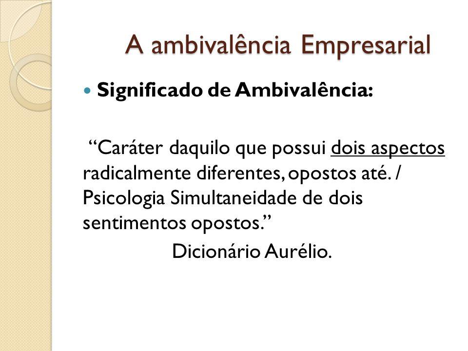 A ambivalência Empresarial Significado de Ambivalência: Caráter daquilo que possui dois aspectos radicalmente diferentes, opostos até.