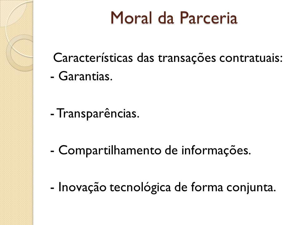 Moral da Parceria Características das transações contratuais: - Garantias. - Transparências. - Compartilhamento de informações. - Inovação tecnológica