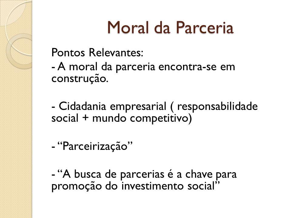 Moral da Parceria Pontos Relevantes: - A moral da parceria encontra-se em construção.