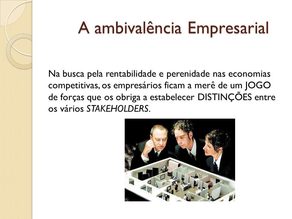A ambivalência Empresarial Na busca pela rentabilidade e perenidade nas economias competitivas, os empresários ficam a merê de um JOGO de forças que os obriga a estabelecer DISTINÇÕES entre os vários STAKEHOLDERS.