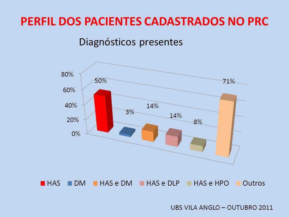 PERFIL DOS PACIENTES CADASTRADOS NO PRC UBS VILA ANGLO – OUTUBRO 2011 Diagnósticos presentes