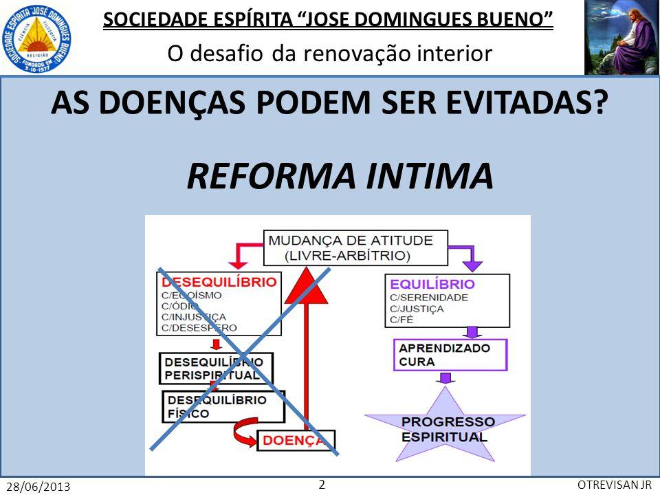 SOCIEDADE ESPÍRITA JOSE DOMINGUES BUENO O desafio da renovação interior 28/06/2013 OTREVISAN JR 3 Porque é um DESAFIO para nós.