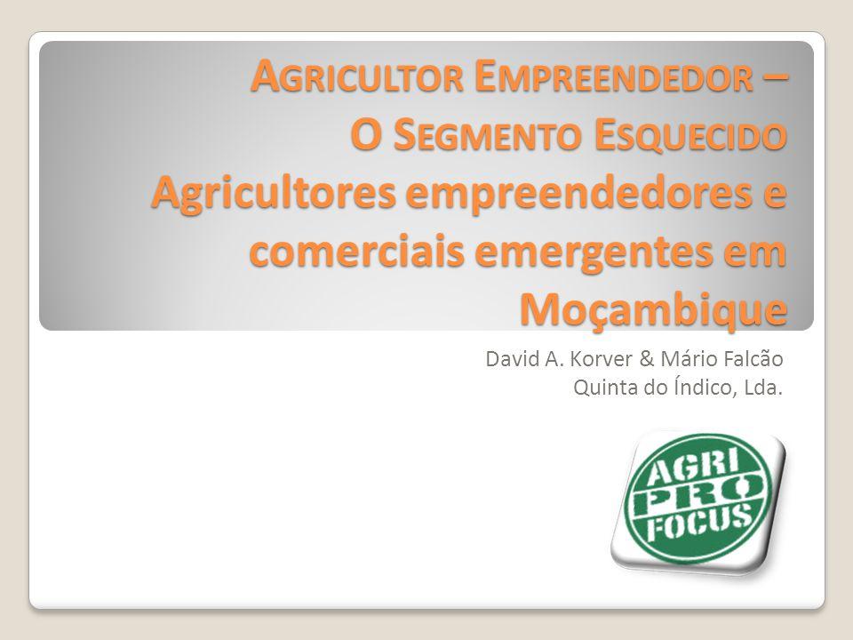 A GRICULTOR E MPREENDEDOR – O S EGMENTO E SQUECIDO Agricultores empreendedores e comerciais emergentes em Moçambique David A. Korver & Mário Falcão Qu