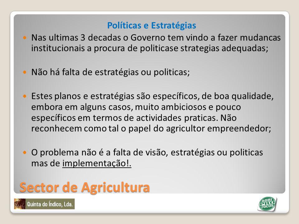 Sector de Agricultura Políticas e Estratégias Nas ultimas 3 decadas o Governo tem vindo a fazer mudancas institucionais a procura de politicase strate