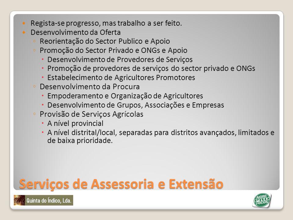 Serviços de Assessoria e Extensão Regista-se progresso, mas trabalho a ser feito. Desenvolvimento da Oferta Reorientação do Sector Publico e Apoio Pro