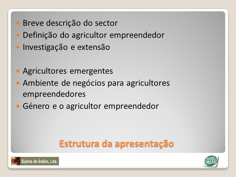 Estrutura da apresentação Breve descrição do sector Definição do agricultor empreendedor Investigação e extensão Agricultores emergentes Ambiente de n
