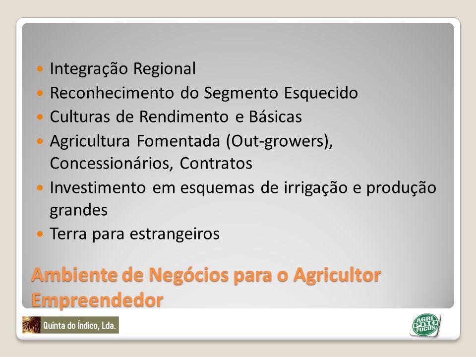 Ambiente de Negócios para o Agricultor Empreendedor Integração Regional Reconhecimento do Segmento Esquecido Culturas de Rendimento e Básicas Agricult
