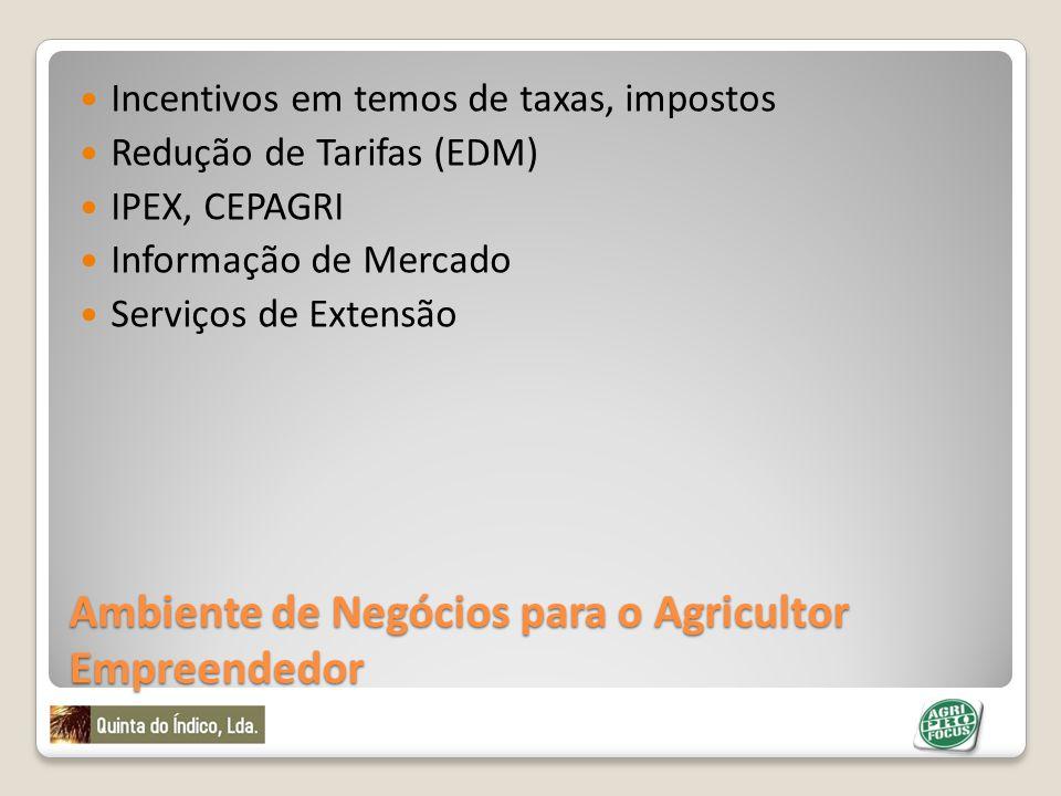 Ambiente de Negócios para o Agricultor Empreendedor Incentivos em temos de taxas, impostos Redução de Tarifas (EDM) IPEX, CEPAGRI Informação de Mercad