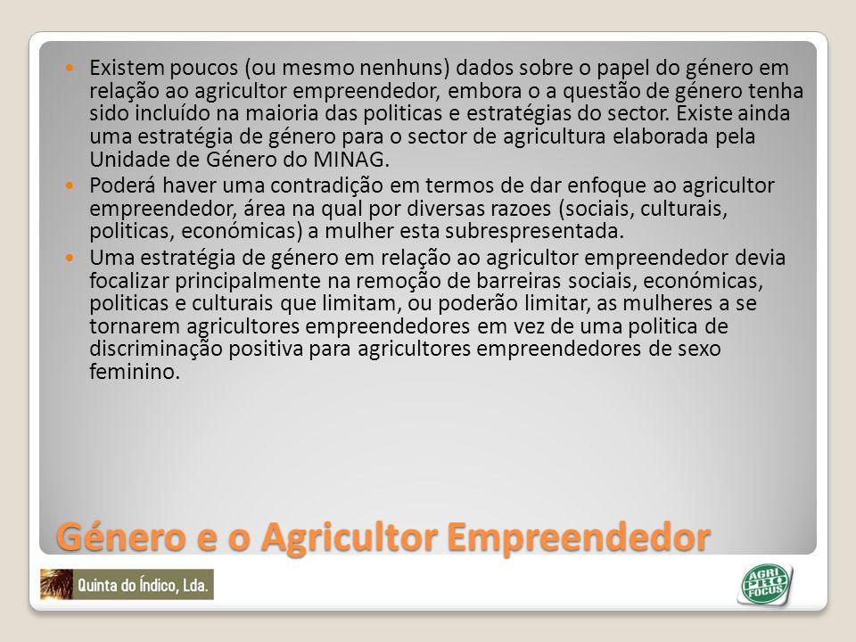 Género e o Agricultor Empreendedor Existem poucos (ou mesmo nenhuns) dados sobre o papel do género em relação ao agricultor empreendedor, embora o a q