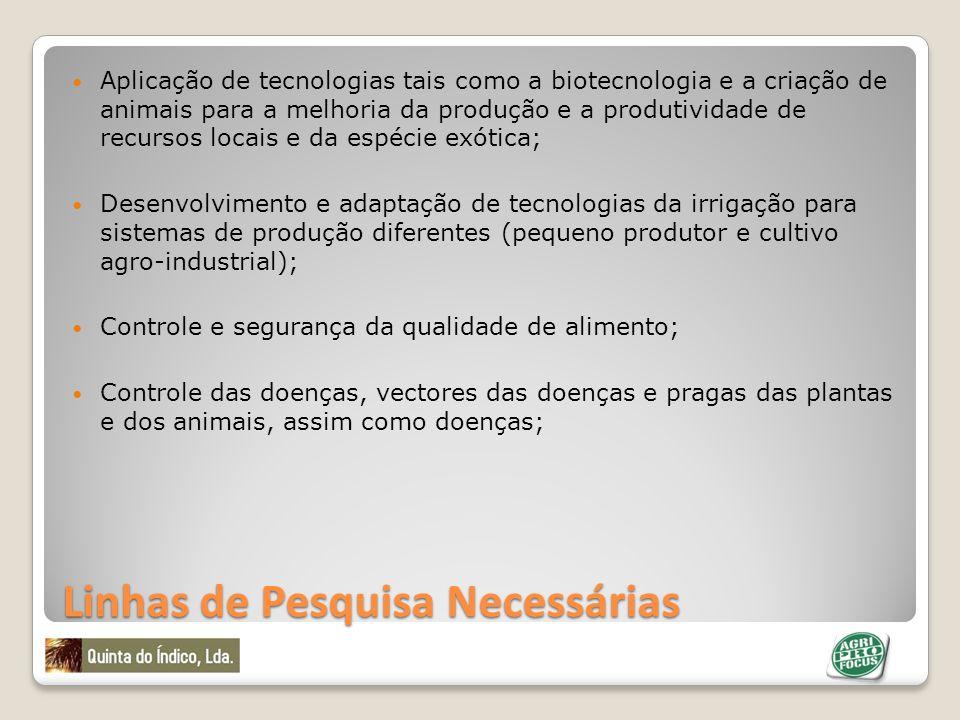 Linhas de Pesquisa Necessárias Aplicação de tecnologias tais como a biotecnologia e a criação de animais para a melhoria da produção e a produtividade