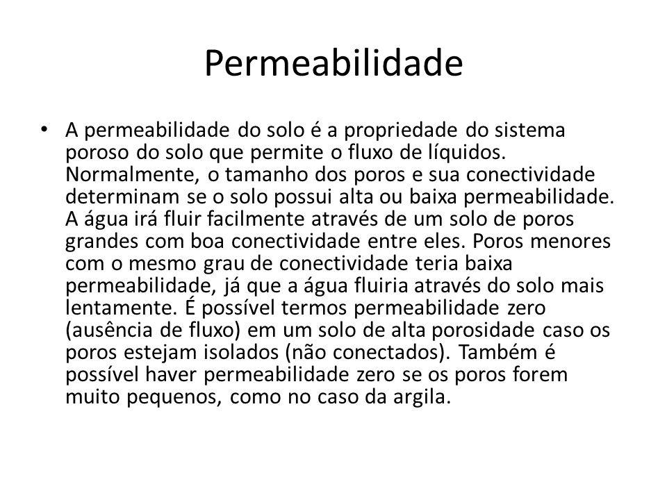 Permeabilidade A permeabilidade do solo é a propriedade do sistema poroso do solo que permite o fluxo de líquidos. Normalmente, o tamanho dos poros e