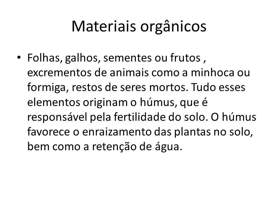 Materiais orgânicos Folhas, galhos, sementes ou frutos, excrementos de animais como a minhoca ou formiga, restos de seres mortos. Tudo esses elementos