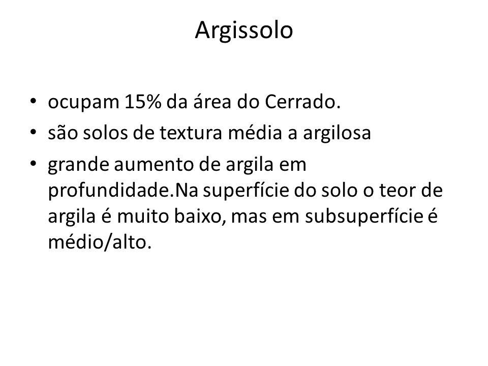 Argissolo ocupam 15% da área do Cerrado. são solos de textura média a argilosa grande aumento de argila em profundidade.Na superfície do solo o teor d