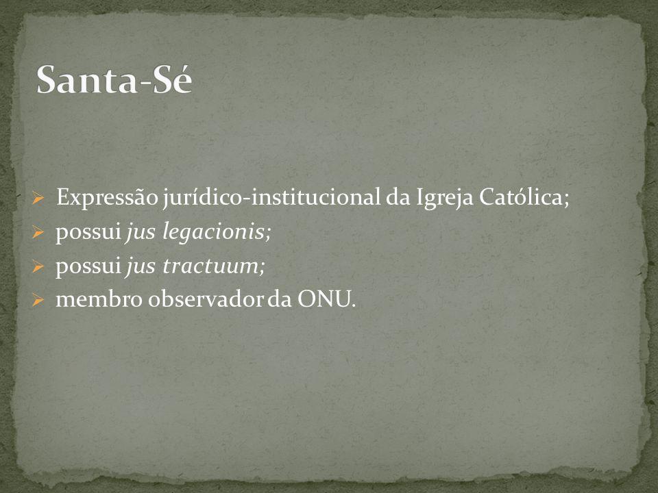 Expressão jurídico-institucional da Igreja Católica; possui jus legacionis; possui jus tractuum; membro observador da ONU.
