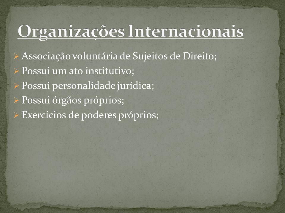 Associação voluntária de Sujeitos de Direito; Possui um ato institutivo; Possui personalidade jurídica; Possui órgãos próprios; Exercícios de poderes