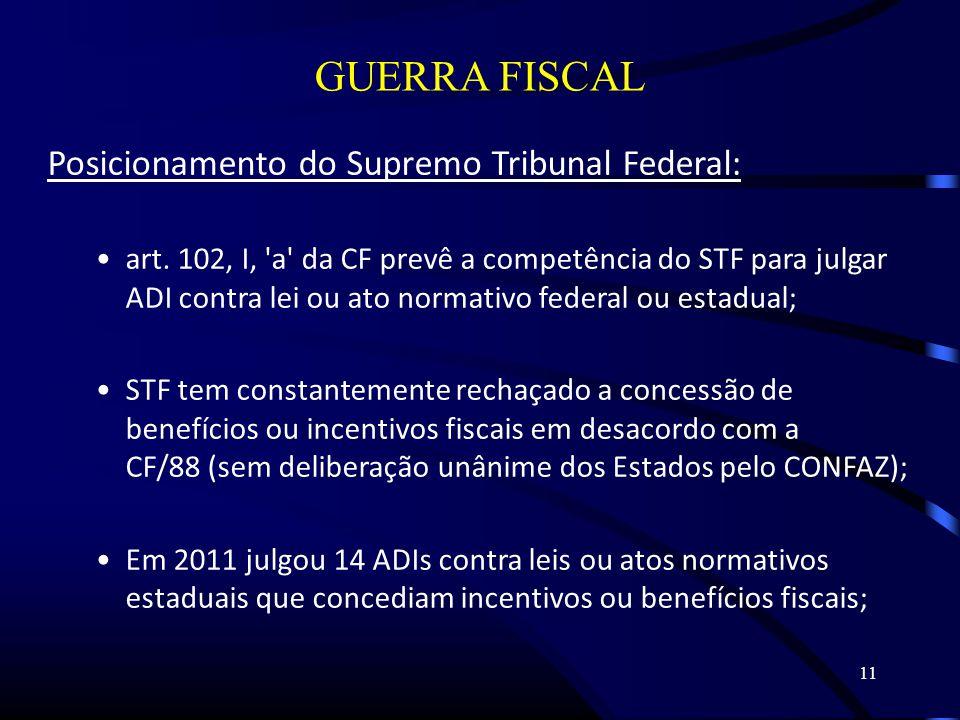 11 GUERRA FISCAL Posicionamento do Supremo Tribunal Federal: art.