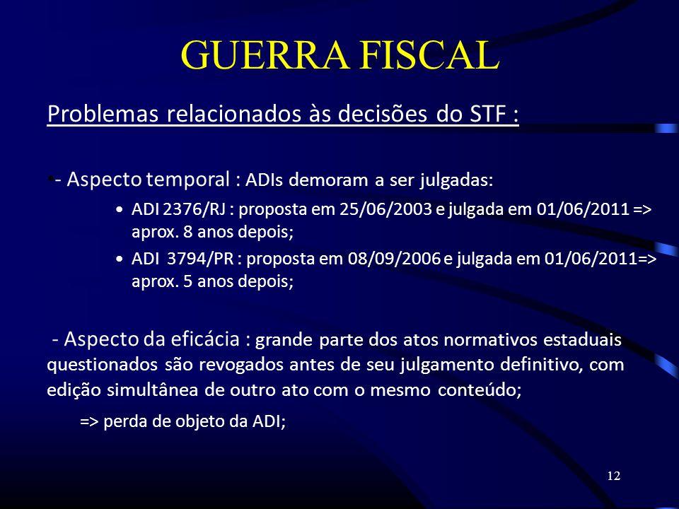 12 GUERRA FISCAL Problemas relacionados às decisões do STF : - Aspecto temporal : ADIs demoram a ser julgadas: ADI 2376/RJ : proposta em 25/06/2003 e julgada em 01/06/2011 => aprox.