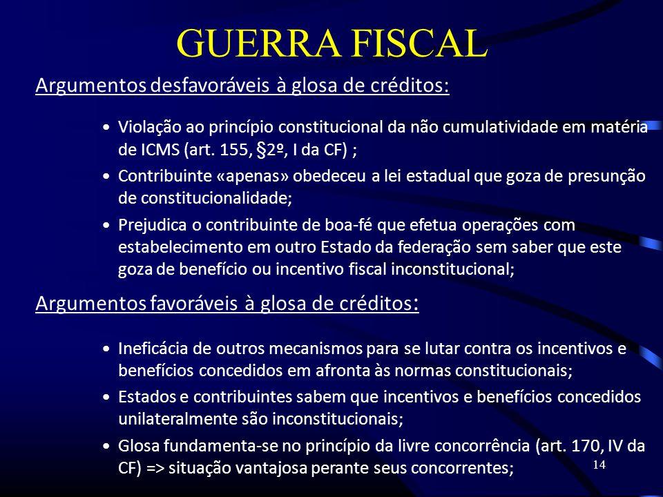 14 GUERRA FISCAL Argumentos desfavoráveis à glosa de créditos: Violação ao princípio constitucional da não cumulatividade em matéria de ICMS (art.