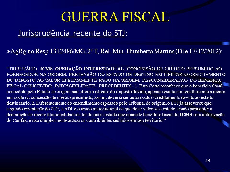 15 GUERRA FISCAL Jurisprudência recente do STJ: AgRg no Resp 1312486/MG, 2ª T, Rel.