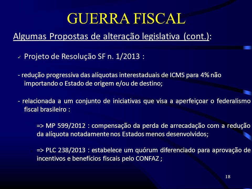 18 GUERRA FISCAL Algumas Propostas de alteração legislativa (cont.): Projeto de Resolução SF n.