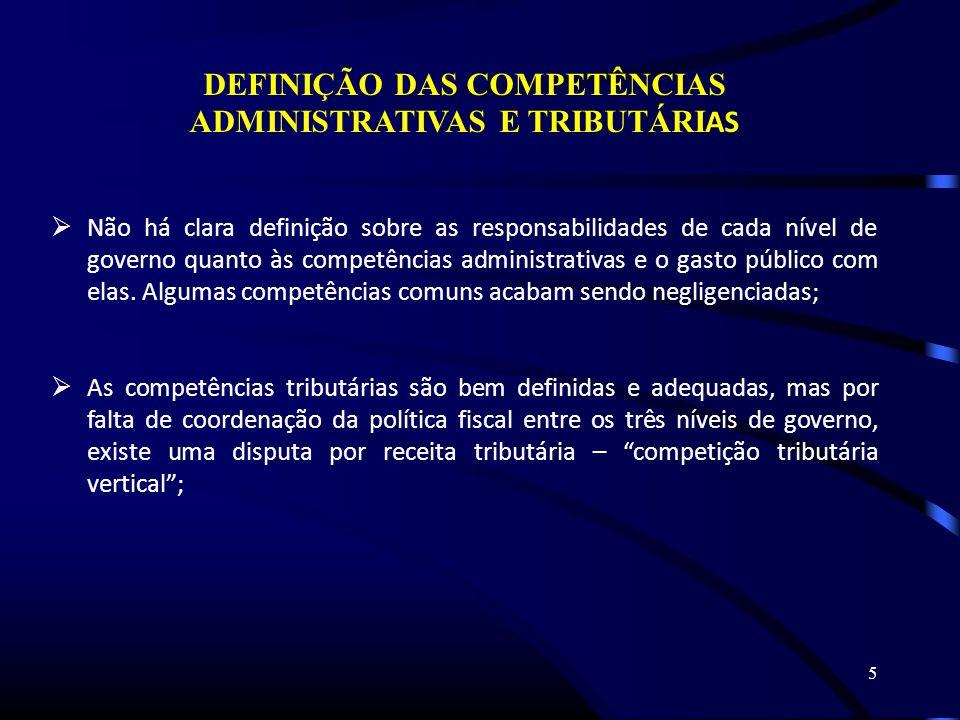 5 DEFINIÇÃO DAS COMPETÊNCIAS ADMINISTRATIVAS E TRIBUTÁRI AS Não há clara definição sobre as responsabilidades de cada nível de governo quanto às competências administrativas e o gasto público com elas.