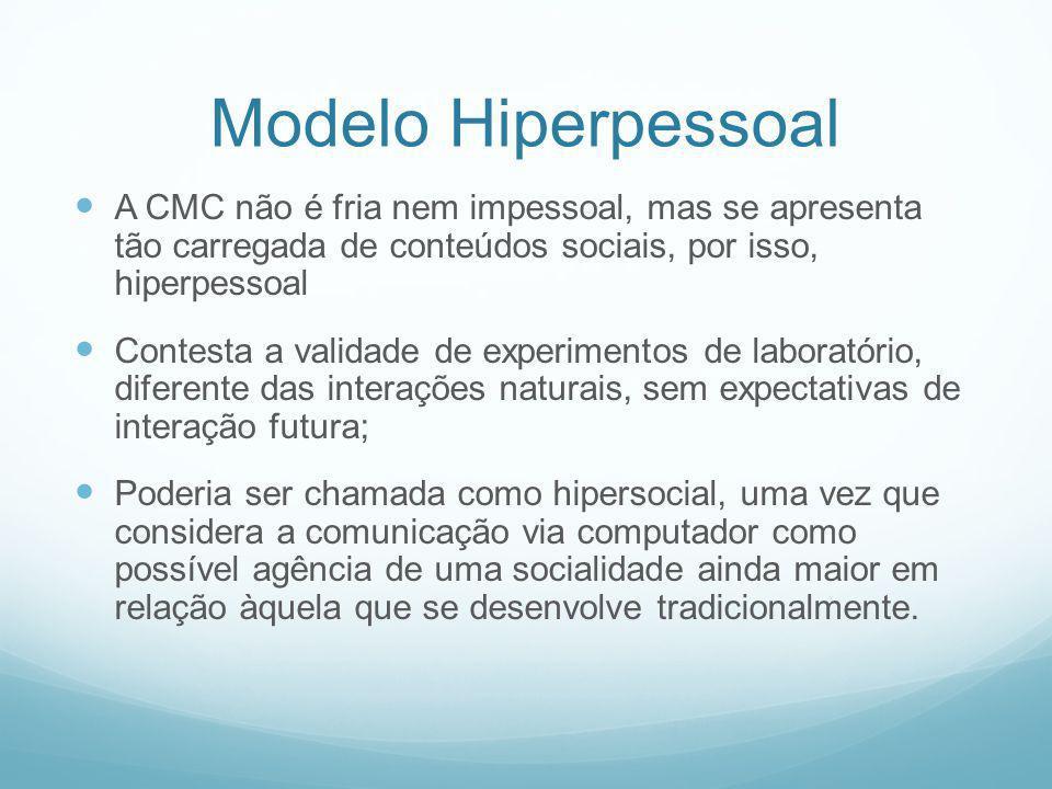 Modelo Hiperpessoal A CMC não é fria nem impessoal, mas se apresenta tão carregada de conteúdos sociais, por isso, hiperpessoal Contesta a validade de