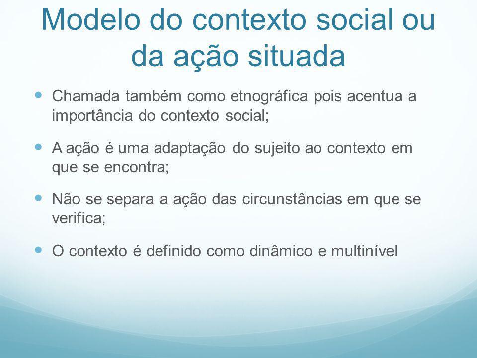 Modelo do contexto social ou da ação situada Chamada também como etnográfica pois acentua a importância do contexto social; A ação é uma adaptação do